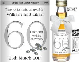 Personalised Miniature Bottles | Diamond Wedding Label: 01