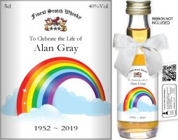 Personalised Miniature Alcohol Bottles | Bereavement Label: 04
