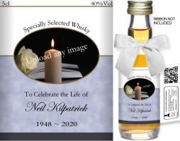 Personalised Miniature Alcohol Bottles | Bereavement Label: 01