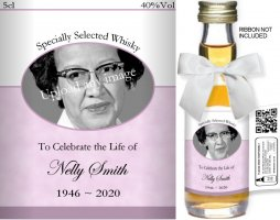 Personalised Miniature Alcohol Bottles | Bereavement Label: 02