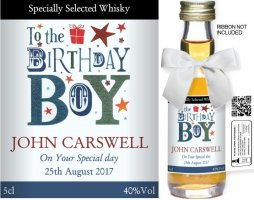 Personalised Miniature Spirit Bottles | Birthday Label: 05