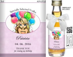 Personalised Miniature Spirit Bottles | Birthday Label: 03