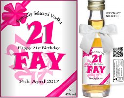 Personalised Miniature Spirit Bottles | Birthday Label: 01