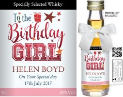Personalised Miniature Spirit Bottles | Birthday Label: 5B