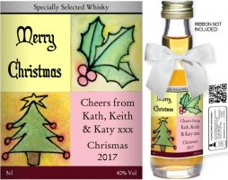 Personalised Alcoholic Miniature with Christmas Label 02