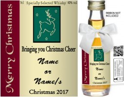 Personalised Alcoholic Miniature with Christmas Label 04