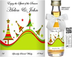 Personalised Alcoholic Miniature with Christmas Label 10