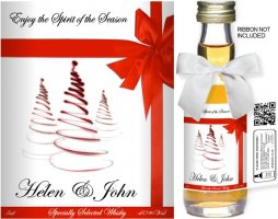Personalised Alcoholic Miniature with Christmas Label 11