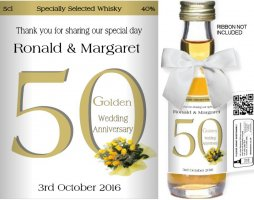 Personalised Miniature Bottles | Golden Wedding Label: 01
