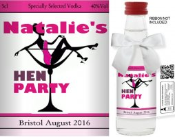 Personalised Miniature Bottles | Hen Party Label: 17E