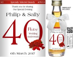 Personalised Miniature Bottles | Ruby Wedding Label: 01