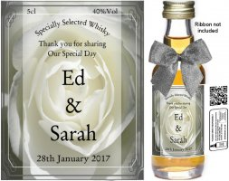 Personalised Alcoholic Miniatures | Wedding Favour Label: 02