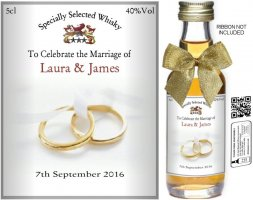 Personalised Miniature Wedding Favour Bottles | Label: 03