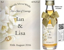 Personalised Alcoholic Miniatures | Wedding Favour Label: 04