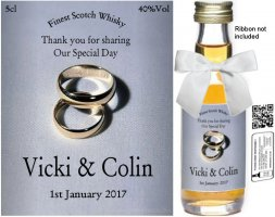 Personalised Miniature Bottles | Wedding Favour Label: 05