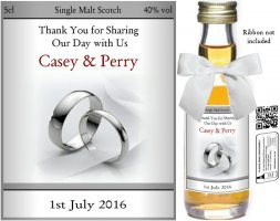Personalised Miniature Wedding Favour Bottles | Label: 09