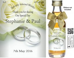 Personalised Miniature Wedding Favour Bottles | Label: 09B