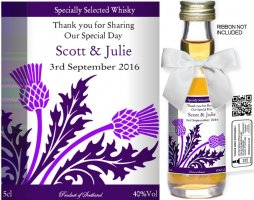 Personalised Miniature Wedding Favour Bottles | Label: 13