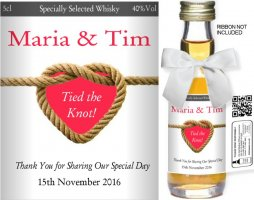 Personalised Miniature Wedding Favour Bottles | Label: 20A