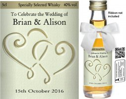 Personalised Miniature Alcohol Bottles | Wedding Label: 25A