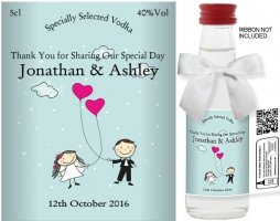 Personalised Miniature Alcohol Bottles | Wedding Label: 28A