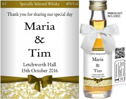 Personalised Miniature Wedding Favour Bottles | Label: 76