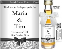 Personalised Miniature Alcohol Bottles | Wedding Label: 76A