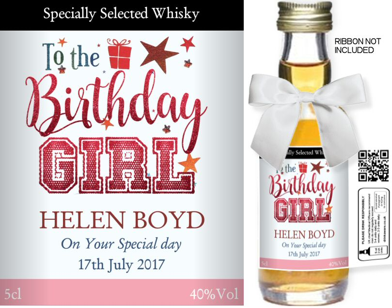 Birthday Label: 05B | Personalised Miniature Spirit Bottles