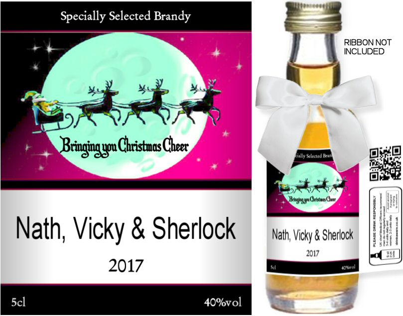 Personalised Alcoholic Miniatures with Christmas Label 03