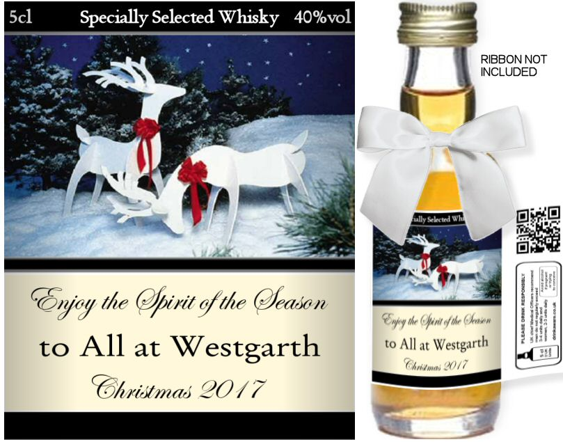 Personalised Alcoholic Miniature with Christmas Label 05