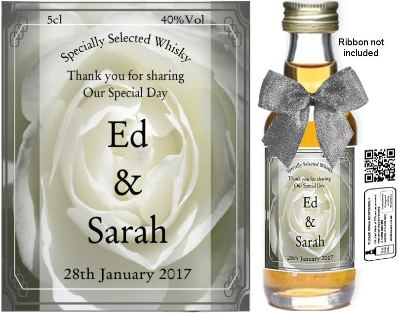 Personalised Miniature Bottles | Wedding Favour Label: 02