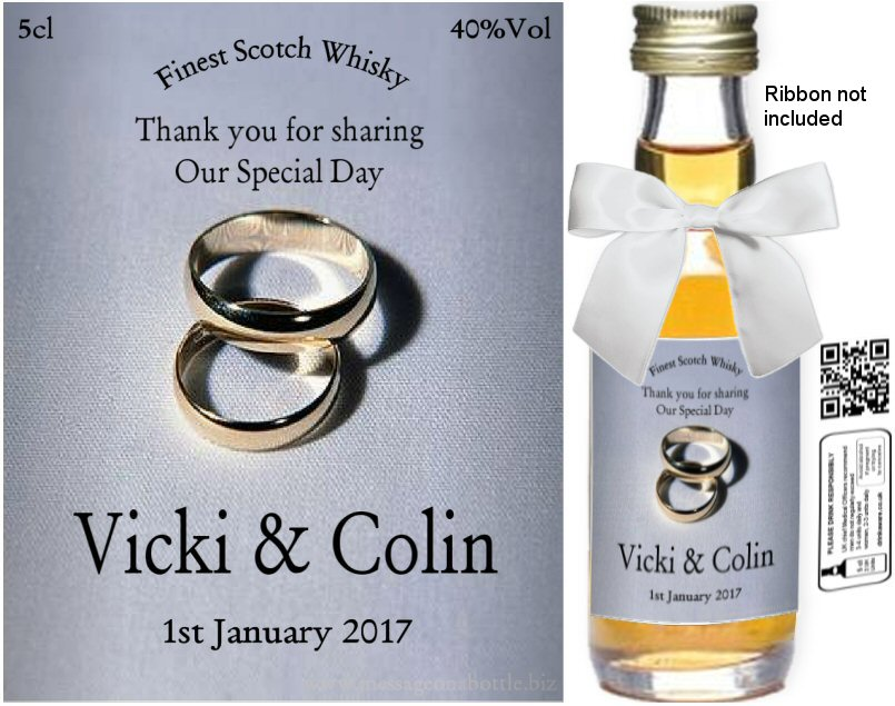 Personalised Miniature Alcohol Bottles | Wedding Label: 05