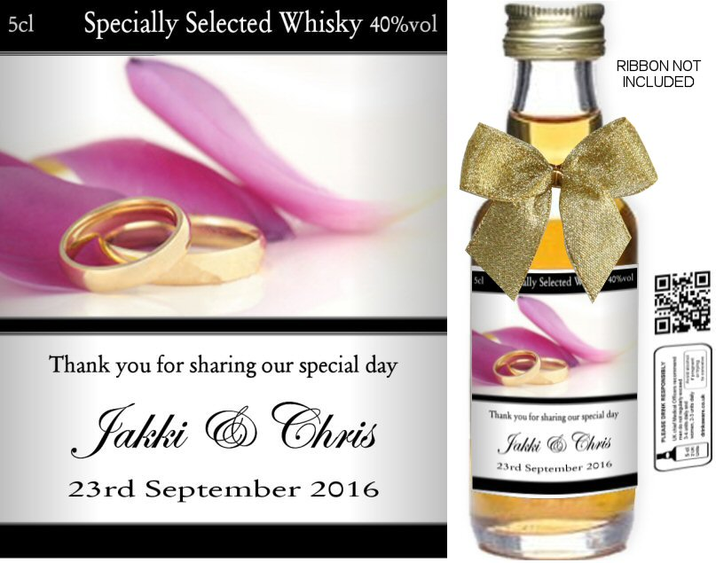 Personalised Miniature Bottles | Wedding Favour Label: 06