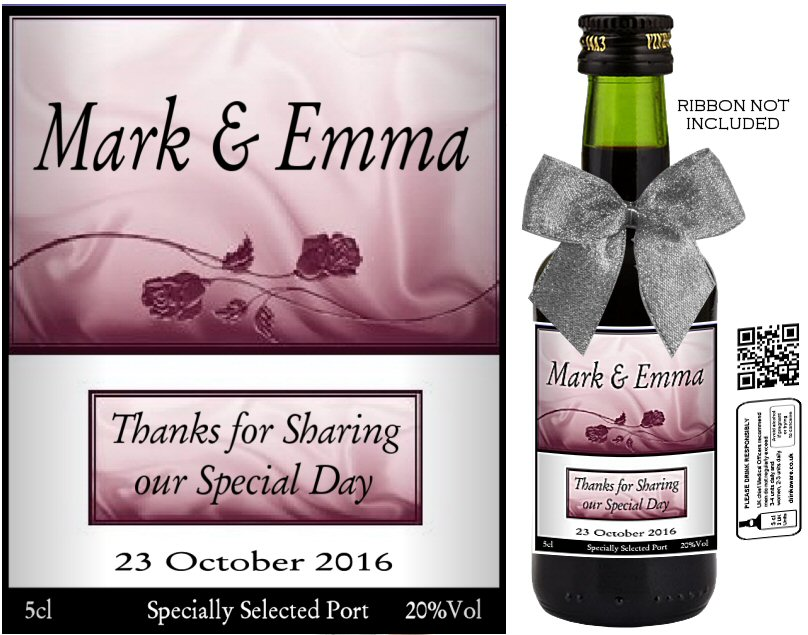 Personalised Miniature Bottles | Wedding Favour Label: 18