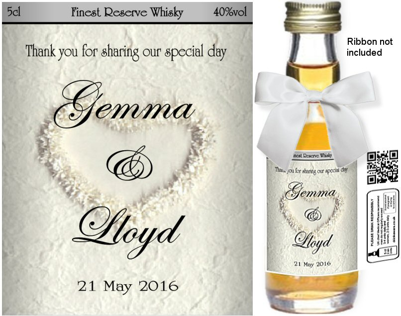 Personalised Miniature Bottles | Wedding Favour Label: 35