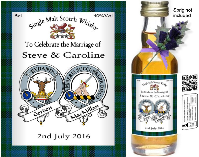 Personalised Alcohol Miniatures | Clan Crest Label: 11